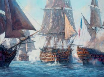 Geoff Hunt : Victory breaks the enemy line, Trafalgar 21st October 1805